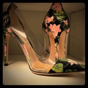 GIANVITO ROSSI FLORAL/LUCITE HEAL